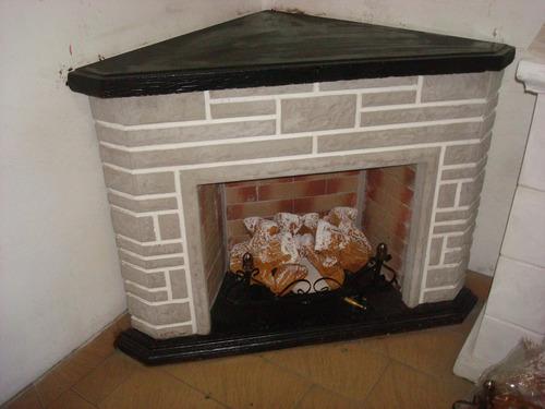 hogar esquinero simil madera simil piedra leño10000 kcal+kit
