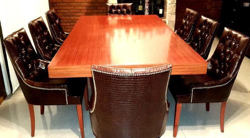hogar juego de comedor mesa y 8 sillas en cuero natural