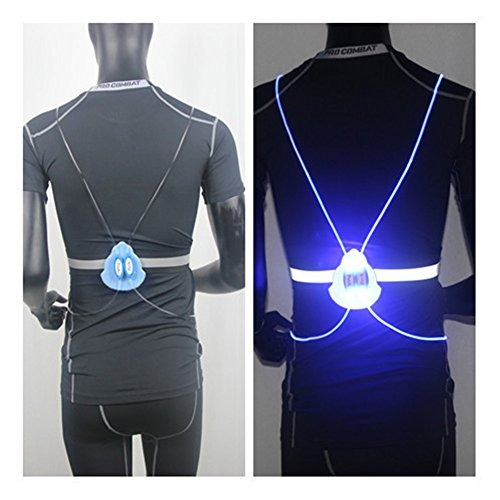 Hogear LED Reflective Vest Light Fiber Optics Running Cycling Dog Walking Safety Gear High Visibility Lightweight Red