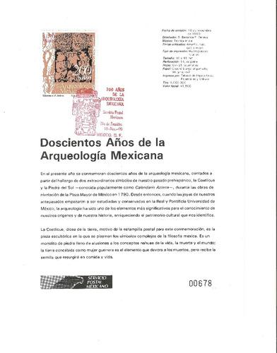 hoja carnet primer día 200 años arqueología mexicana  1990