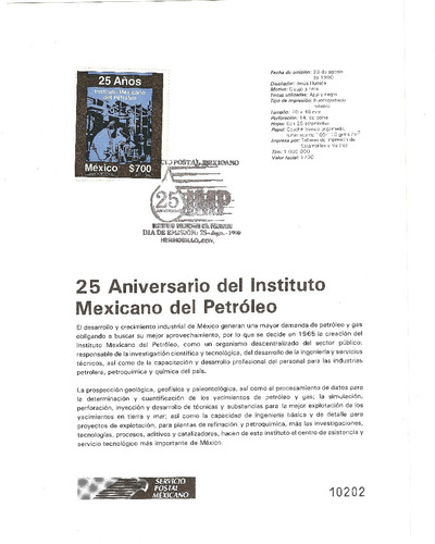 hoja carnet primer día instituto mexicano del petroleo  1990