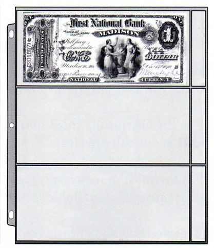 hoja cowens de 3 espacios para billetes de colección