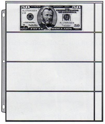 hoja cowens de 4 espacios para billetes de colección