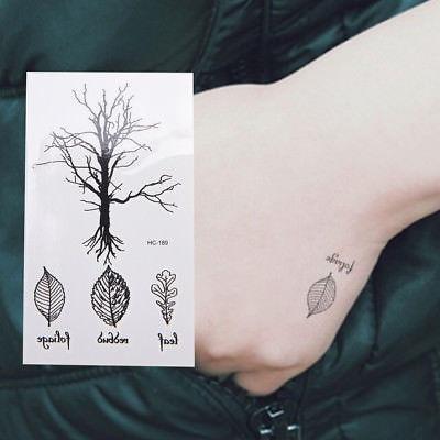 Hoja De árbol Tatuajes Temporales Brazo Pierna Tatuaje Flash