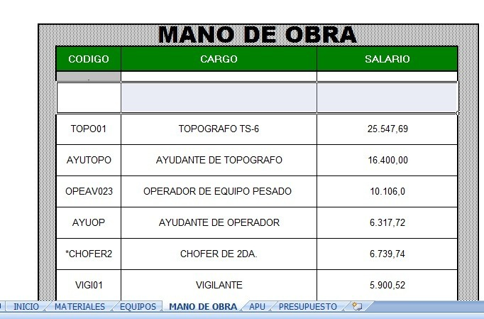 Hoja De Calculo Para Analisis De Precios Unitarios - Bs. 900.000,00 ...