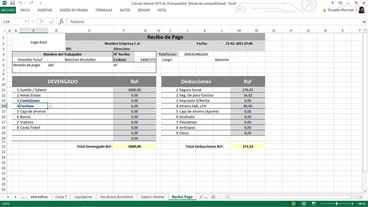 Hoja De Calculos Salariales 2017 Lott Prestaciones Excel - Bs. 2.000 ...