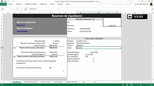 hoja de calculos salariales 2017 lott prestaciones excel
