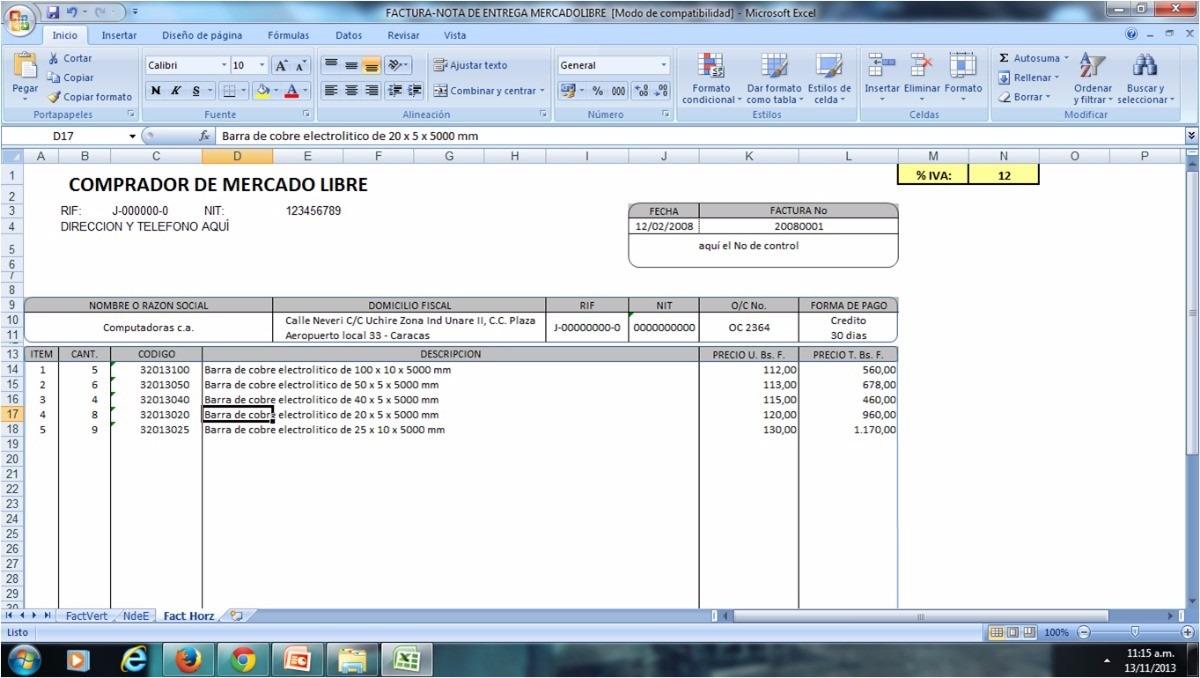 hoja de excel para hacer factura nota de entrega forma libre bs