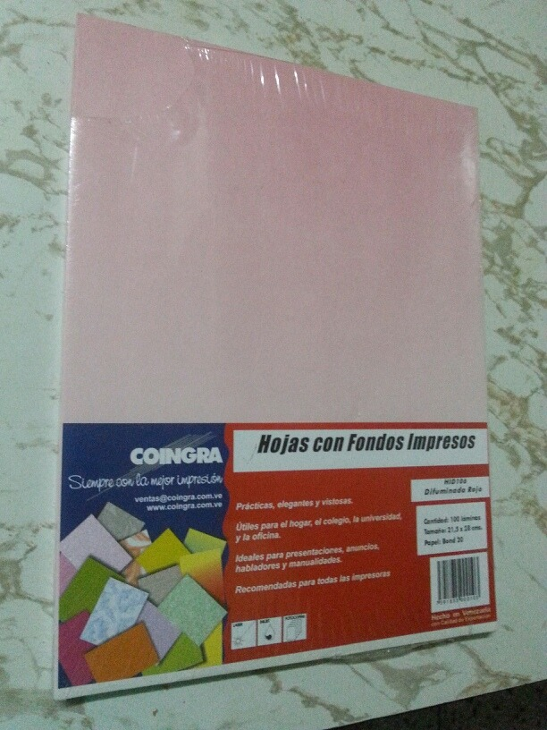 Hoja De Papel Bond Con Fondo Impreso Color Rosado 100 U Bs