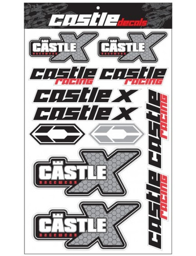 hoja de stickers castle x racewear negro/blanco/rojo