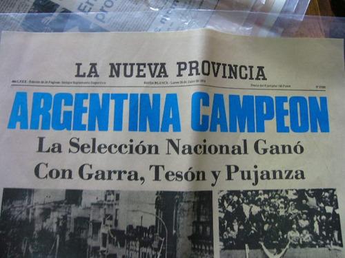 hoja diario la nueva provincia argentina campeon 1978