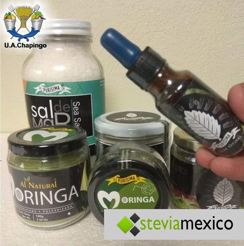 hoja entera stevia 1 kg + hoja entera moringa 1 kg + sal 1kg