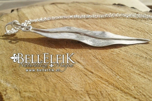 hoja pluma de plata fina 950 única + cadena de plata