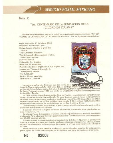 hoja primer dia centenario de tijuana escudo1989