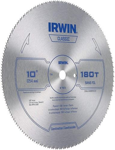 hoja sierra circular 254 mm melamina 180d irwin 10  plastico