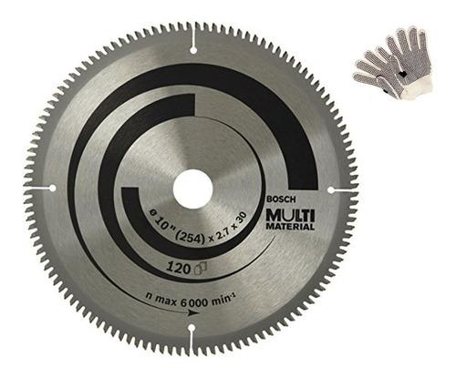 hoja sierra circular 254mm bosch 120d multimaterial +guantes