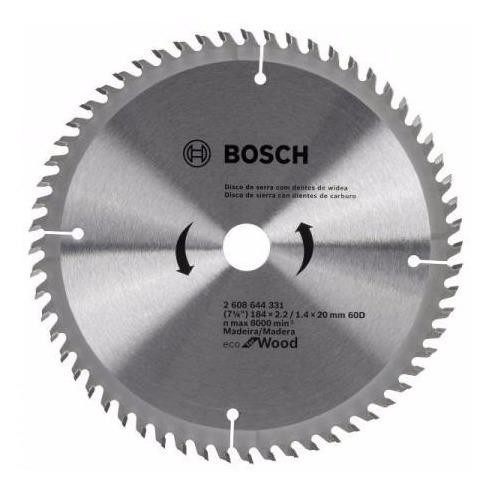 hoja sierra circular madera bosch 184mm 7 1/4  60d + guantes