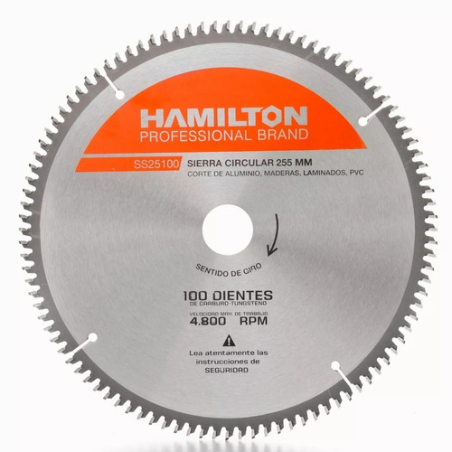 hoja sierra ingletadora hamilton 254mm 10 pulg 100 dientes