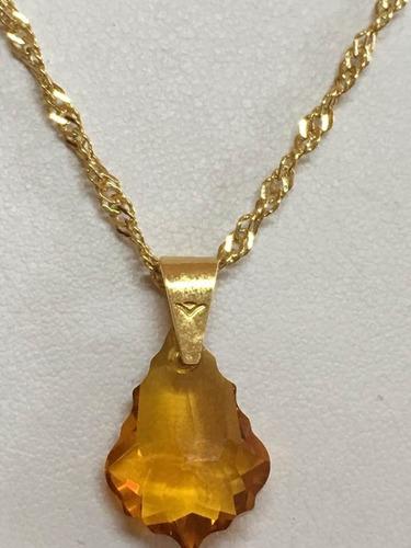 hoja topaz cristal swarovski y cadena chapa de oro 22k