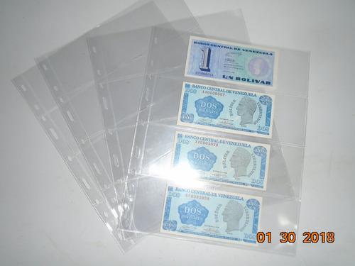hojas de acetato para billetes de 3 espacios