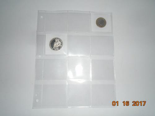 hojas de acetato para monedas de 12 espacios