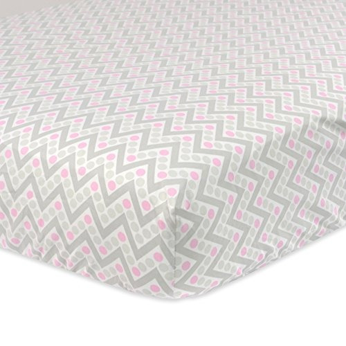 hojas,just born 100% cotton fitted crib sheets, pinkgrey..