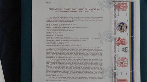 hojilla filatelia. 75 aniv. apertura de la unam. 1985
