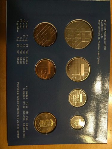 hol-s12 set 6 monedas holanda 1991 unc-bu ayff