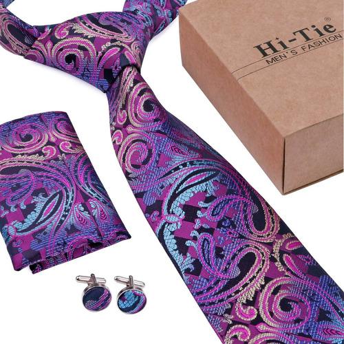 hola-lazo nueva moda púrpura corbata set wedding groom