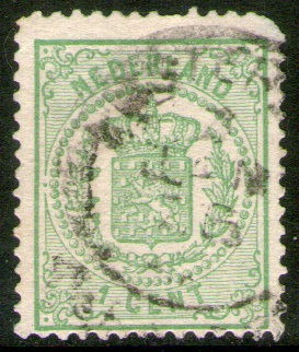 holanda 2 antiguos sellos usados escudo de armas años 1869-1
