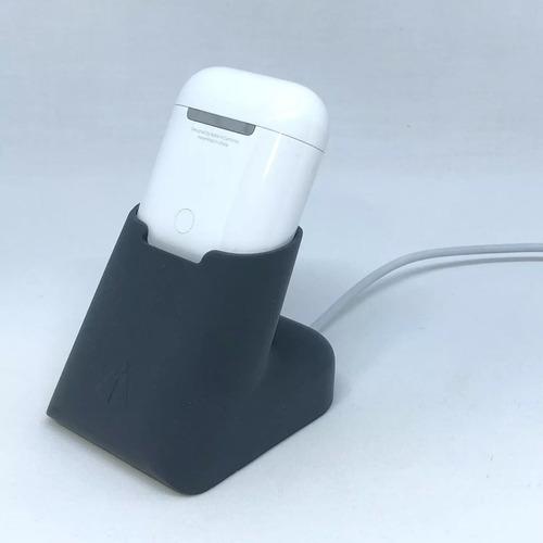 holder base en silicona color gris oscuro para airpods