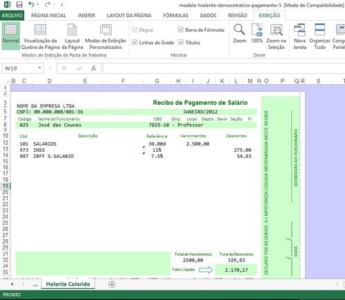 holerite 100% editável excel frete grátis envio email m1