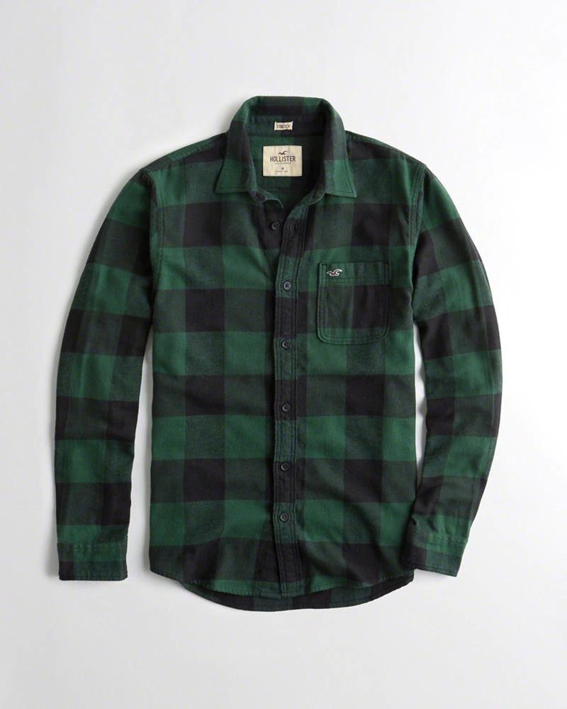 d35a00a877 Hollister Camisa De Poplin Cuadros Color Verde Y Negro -   750.00 en ...