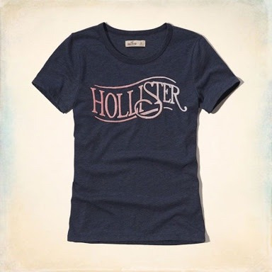 hollister embroidered logo graphic tee