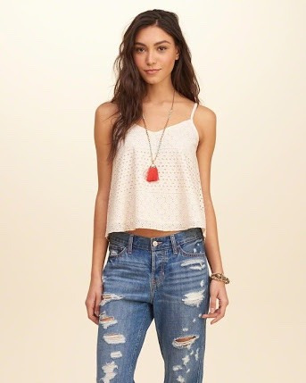 hollister lined lace cami beige