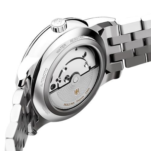 holuns automática mecánico completo acero banda casual reloj