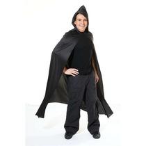 Drácula Disfraces - Adultos Larga Con Capucha Negro Cabo De