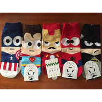 Calcetines Superheroes Spiderman,superman,batman,iron Man,ca