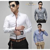 Camisas Hombre Elegante Blanca Filos Rojos, Fit Slim