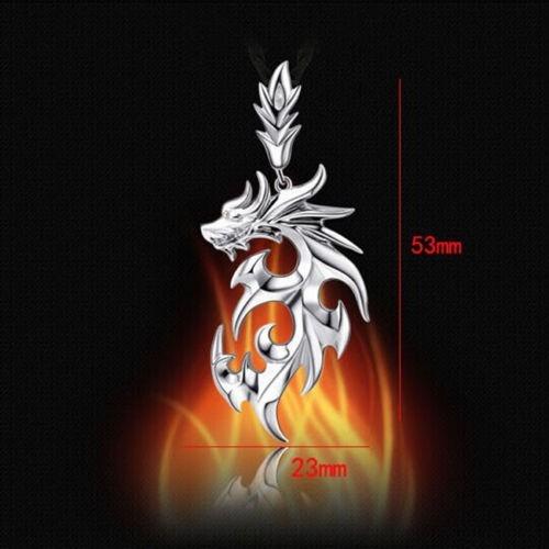 hombre collar fashion acero inox stainless dragón/cadena 2pz