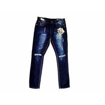 Pantalon Jean Denim Caballero Polvo Fit Rasgado Moda Ropa