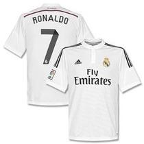 Camisa 2015 Real Madrid Local Ronaldo Y Bale Con Botones
