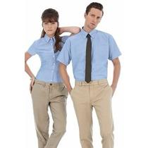 Camisas Oxford Azul Celeste Dama Y Caballeros
