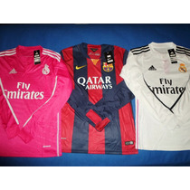 Camiseta Manga Larga 2015 Barcelona Real Madrid Local Y Visi