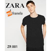 Franelas Zara Basic Casuales, Tela Importada Unicolor