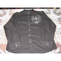 Camisa De Jeans Negra Con Bordado Talla L (nueva)