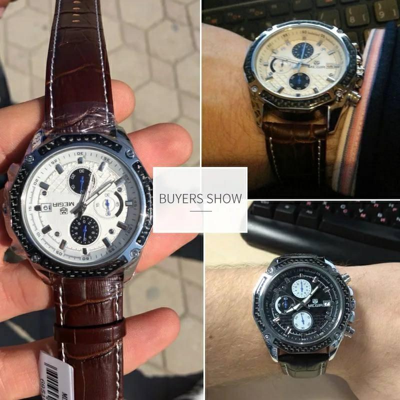 e6245edb0b25 Reloj Hombre Megir Piel Negro Metal Original Cronógrafo Lujo ...