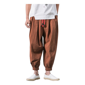 Hombre Moda Casual Suelto Color Sólido Pantalones Harem Anch