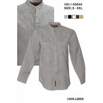 Guayabera Camisa Cuello Mao 100%lino Para Caballero