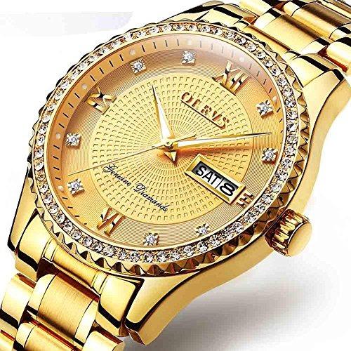 b9f646d07089 hombre relojes reloj · olevs reloj dorado hombre acero inoxidable relojes  de cuarzo